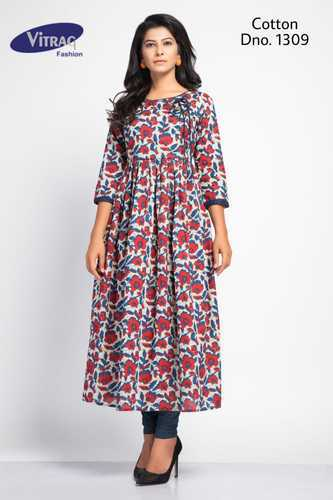 A-Line Vitrag Cotton Printed Frock Style Kurti, Rs 550 /piece .