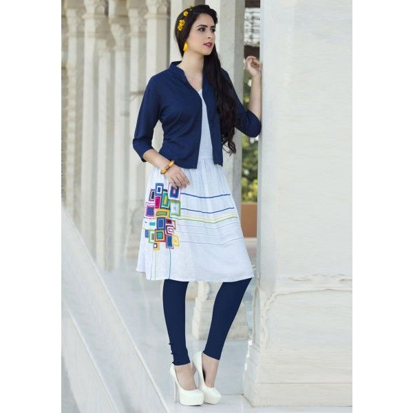 White & Blue Printed Cotton Frock Style Kurti (With images .