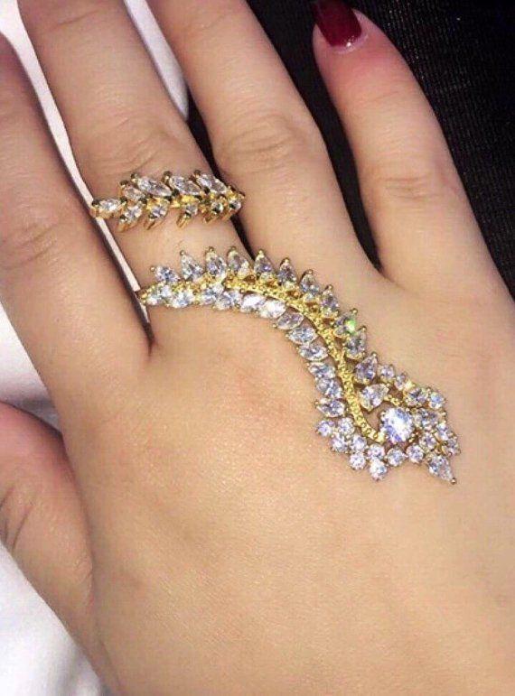 Full Finger Ring Cubic Zirconia Long Gold Cuff Ring Mehndi, hand .