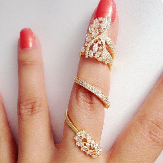 Impressive CZ Articulated Full Finger Ring-Revolving Full Finger .