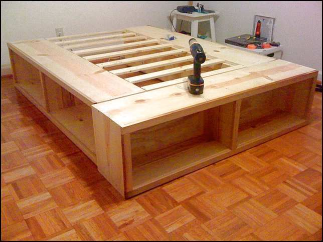 Full Size Bed Frame With Storage Plans (With images) | Diy .