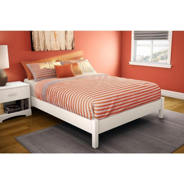 South Shore Step One Full-Size Platform Bed in Pure White 3050204 .