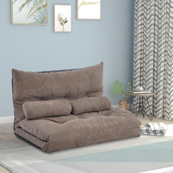 Harper & Bright Designs Light Brown Adjustable Folding Futon Sofa .