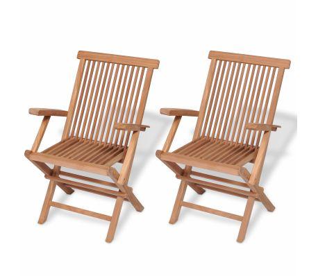 vidaXL Folding Garden Chairs 2 pcs Solid Teak Wood | vidaXL.c