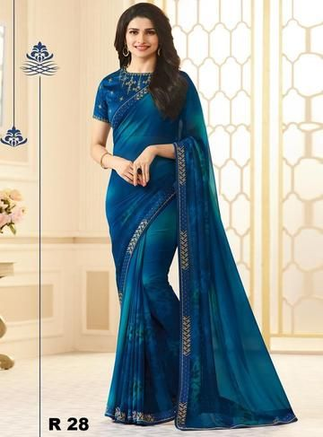 Prachi Desai Blue Georgette Sarees Online Shopping | Indian .