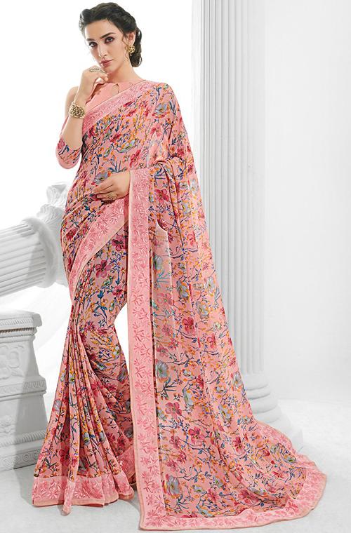 Pink Designer Floral Print Georgette Saree – Saira's Boutiq