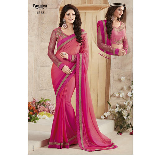 Silk Georgette Women Traditional Light Magenta Saree with Blouse .