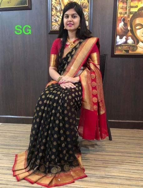 Handloom Khaddi Banarasi Georgette Sarees – FashionVib