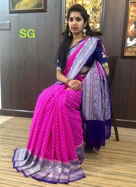 Handloom Khaddi Pink Blue Banarasi Georgette Sarees – FashionVib
