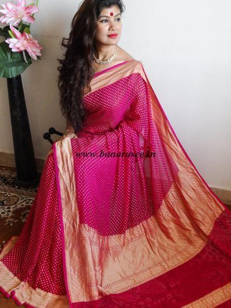 Banarasi/ Banarasee Handwoven Khaddi Georgette Saree-Magenta .