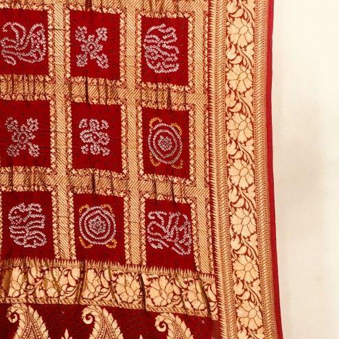 Maroon Banarasi Bandhej Gharchola saree | Pattern art, Maroon .