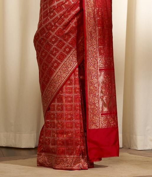 Handwoven Red Katan Silk Gharchola Saree - WeaverSto