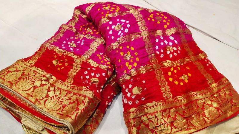 Red Pink Gharchola Saree – Fashionmo