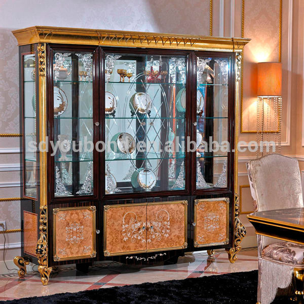 0061High quality luxury wooden carvde living room glass showcase .