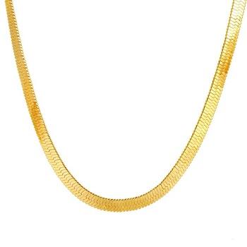 Yellow Gold Jewelry Wide Flat Brass Herringbone Chain 8 Gram Gold .
