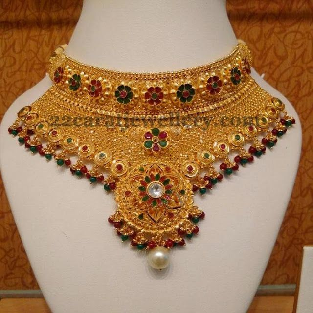 Floral Work Heavy Bridal Gold Choker (With images) | Choker .