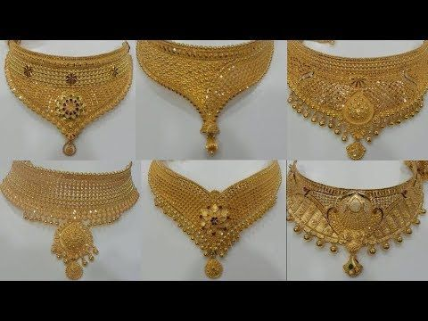 Designer gold choker necklaces - YouTube (With images) | Choker .