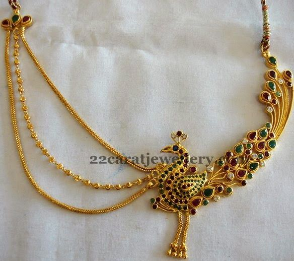 Jewellery Designs: Colorful Peacock Gold Choker | Gold jewelry .