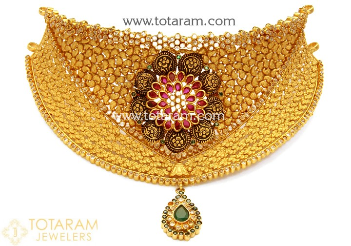 22K Gold Antique Choker Necklace with Fancy Stones - 235-GN1794 in .