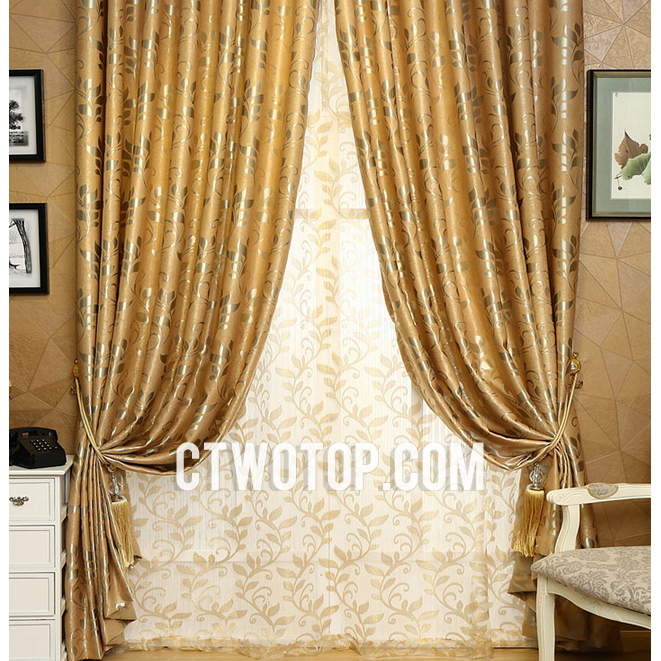 Gold And Silver Leaf Pattern Luxury Half Price Country Curtai