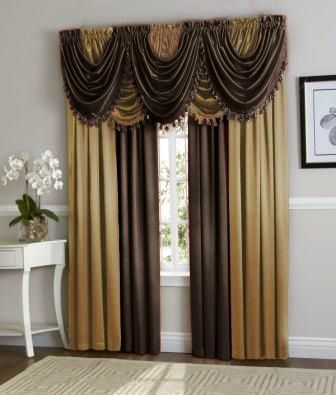 Hyatt Curtain Set (Brown/Gold) (With images) | Curtains, Black .