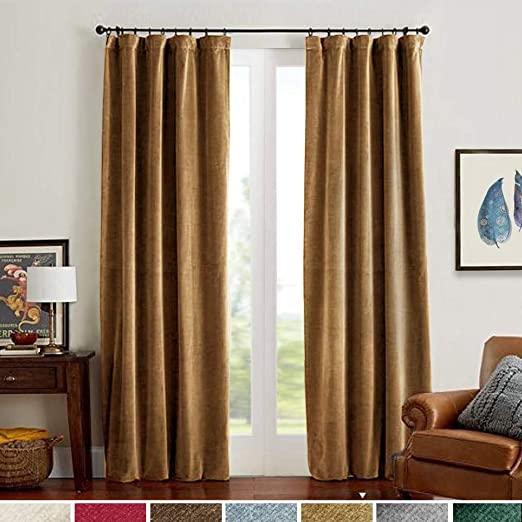 Amazon.com: Velvet Curtains Gold Taupe Room Darkening Thermal .