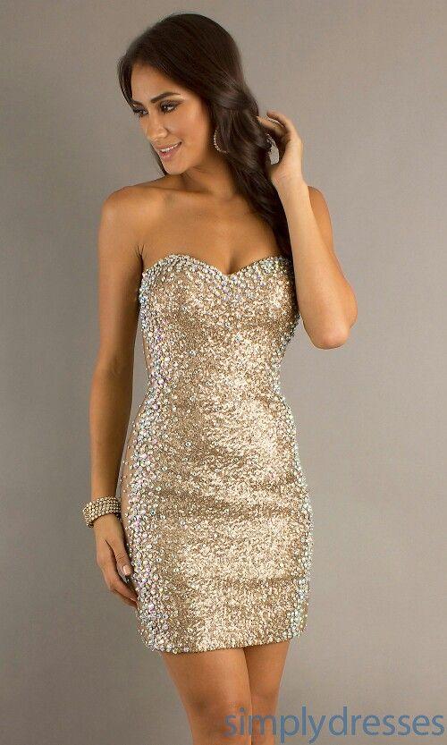 Short gold dress (With images) | Glitter dress short, Sequin dress .