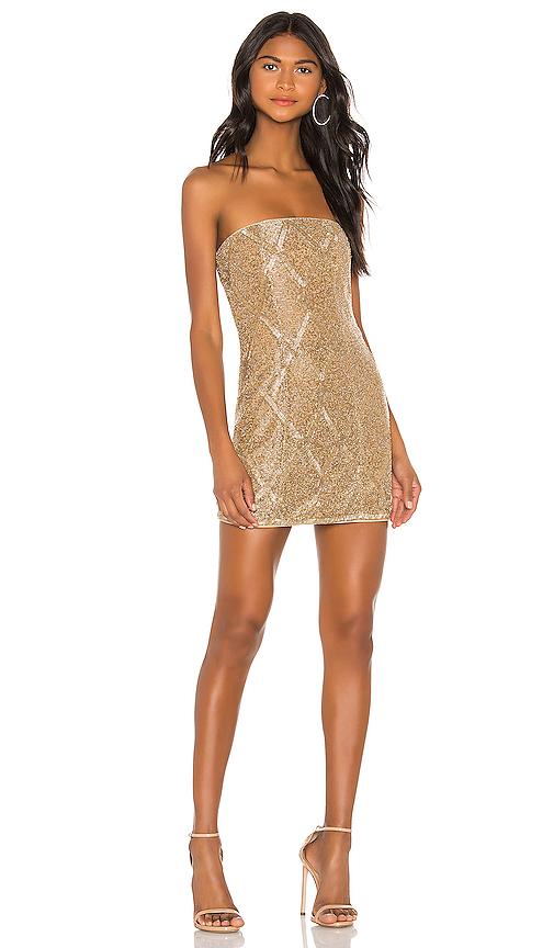 X by NBD Jean Embellished Mini Dress in Light Gold | REVOL
