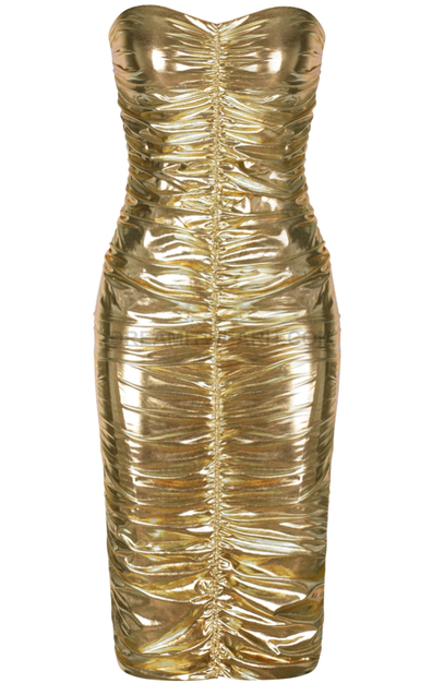 Strapless Ruched Midi Metallic Dress Gold - Luxe Dresses and .