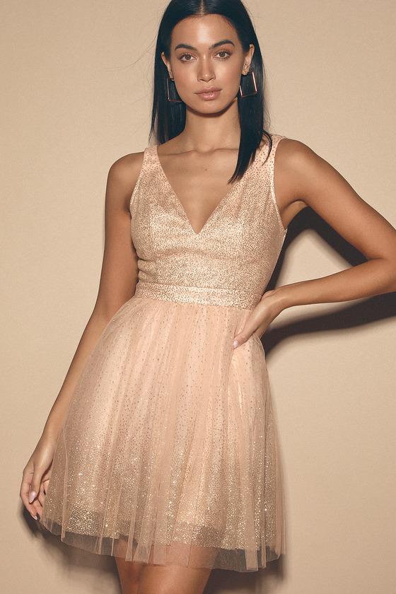 Lovely Blush Pink and Gold Dress - Skater Dress - Tulle Dre
