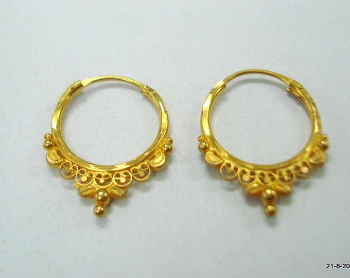 Vintage antique 20kt gold earrings stud earrings handmade gold .