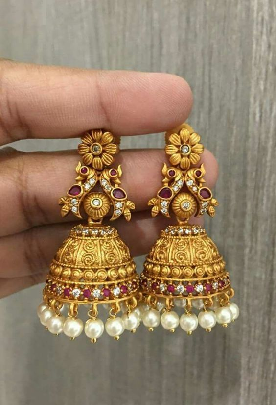Gold Jhumka Earring designs latest 2019/ Gold buttalu (With images .