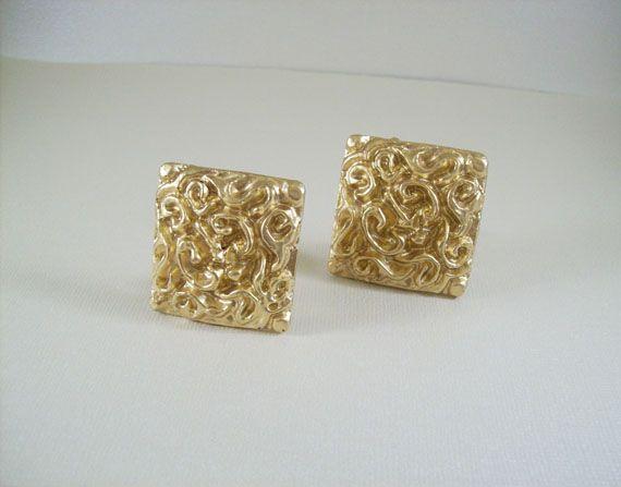Goldmine clip-on earrings by Yndigo Designs. Square, gold earrings .