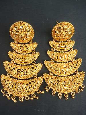 22K Gold Plated Long Designer Jhumka Earrings Indian Wedding Party .