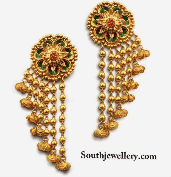 Stylish Gold Earrings - Indian Jewellery Desig
