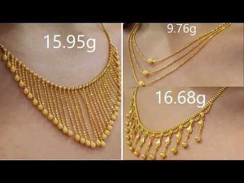 Designer light weight gold necklaces - YouTube | Gold necklace .