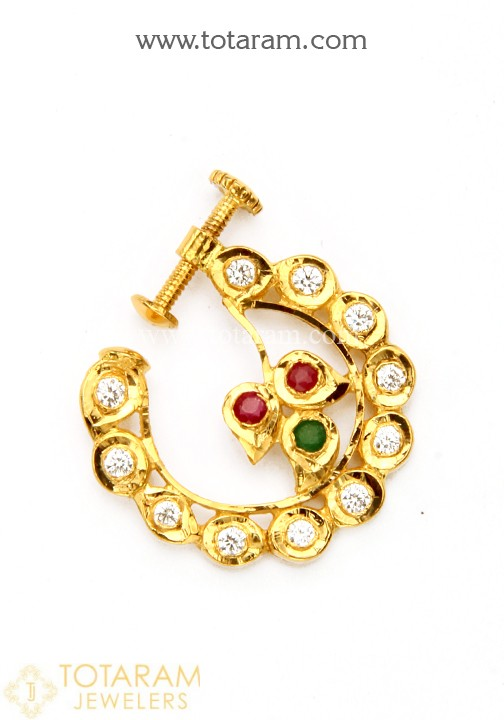22K Gold Nath - Nose Ring with Cz & Color Stones - 1-GNP018 in .