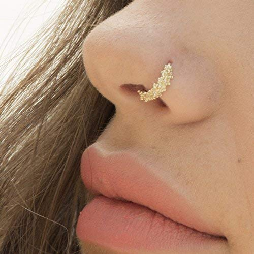 Amazon.com: Gold Nose Ring, 14K Solid Yellow Gold Tribal Nose Hoop .