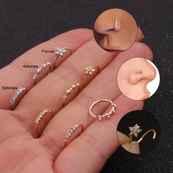 20g Tiny Hoops Cz Nose Hoop Ring Silver And Gold Nose Piercing .