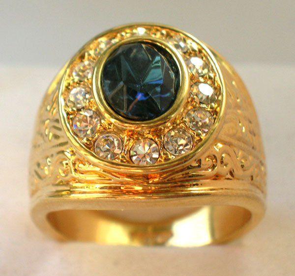 Sapphire-White-Topaz-18K-Yellow-Gold-GP-Men-s-Ring-Size-8-11-Free .