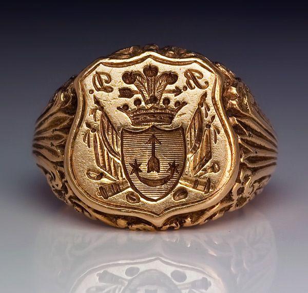Antique Signet Armorial Seal Men's Ring c. 1840..BEAUTIFUL .