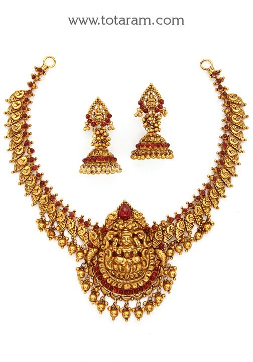22K Gold 'Lakshmi' Necklace & Earrings Set (Temple jewellery .