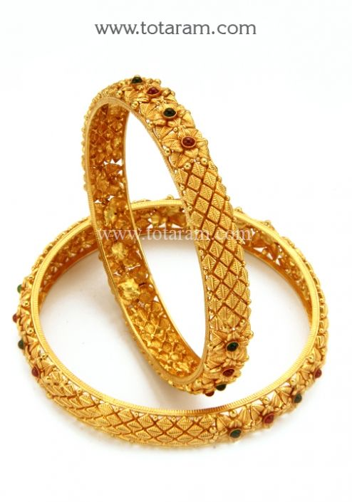 22K Gold Bangles (Temple Jewellery) - Set of 2 (1 Pair): Totaram .
