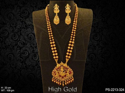 Copper / Brass Golden Temple Jewellery Temple Pendant Set, Rs 1730 .