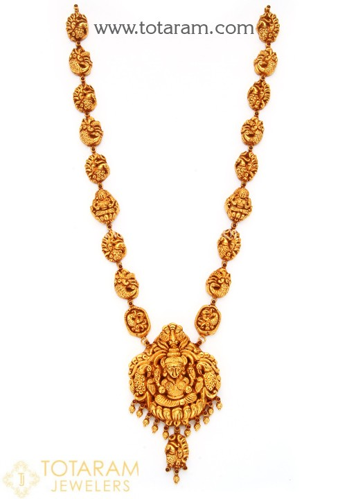 22K Gold 'Lakshmi' Long Necklace with Beads (Temple Jewellery .
