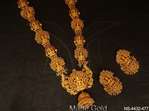 Manek Ratna Clustered Laxmi Ji Temple Jewellery Necklace .
