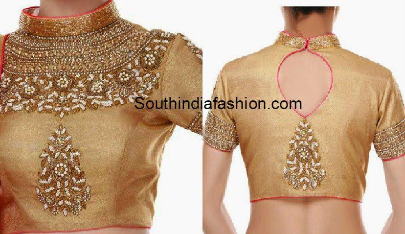 Gold High Neck Blouse | Blouse designs high neck, Blouse neck .