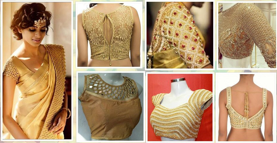 20+ Latest Golden Blouse Designs (With images) | Golden blouse .