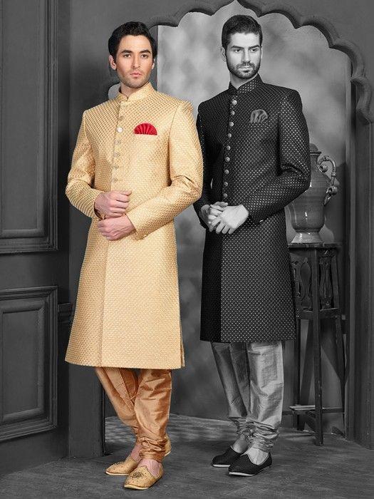 Golden Silk Wedding Wear Achkan Sherwani, Latest Designer men .