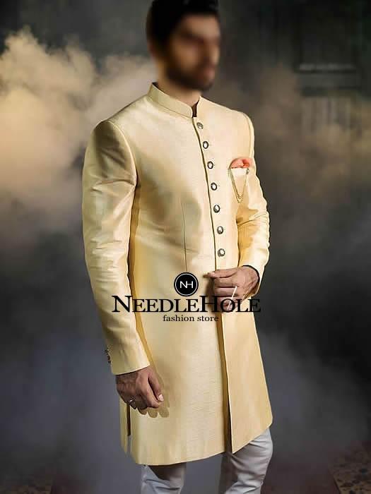 Raw silk golden groom sherwani design with golden butto